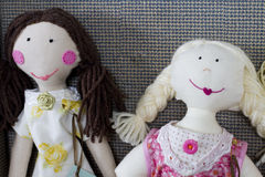 Rag dolls. Home made hand crafted rag dolls Royalty Free Stock Image