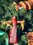 Rag Dolls on christmas tree on folk Slavic pagan holiday Maslenitsa of the end of winter. Rag Dolls on christmas tree on folk Slavic pagan holiday Maslenitsa of royalty free stock images