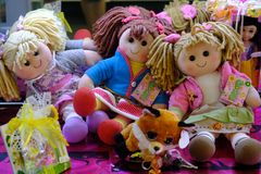 Rag dolls and puppets. Rome, Italy - August 12, 2017: Hello dolly! rag dolls and puppets for sale stock photos
