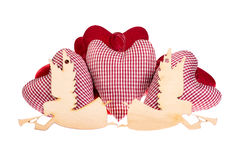 Rag heart and wooden angels Royalty Free Stock Photo