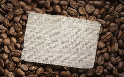 Rag label on coffee Stock Photos