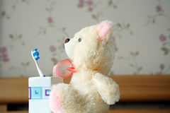 Rag toy bear and toothbrush Stock Photos