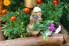 Rag toy with flowers. For street decor Royalty Free Stock Image