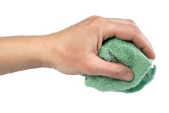 Rag for wet cleaning. In an arm,  isolated on the white Royalty Free Stock Photos