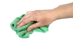 Rag for wet cleaning. In an arm,  isolated on the white Stock Photography