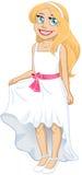 Ragazza abbastanza bionda con il vestito e l'arco bianchi Fotografia Stock Libera da Diritti