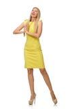Ragazza abbastanza giusta in vestito giallo isolato su bianco Immagine Stock