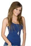 Ragazza abbastanza teenager in maglia blu Immagini Stock