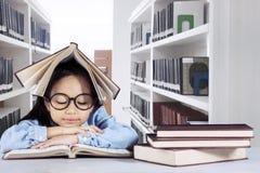 Ragazza abile che legge un libro nella biblioteca Immagini Stock