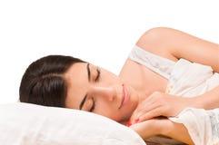 Ragazza addormentata isolata Immagini Stock
