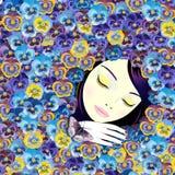 Ragazza addormentata nelle viole Fotografia Stock Libera da Diritti