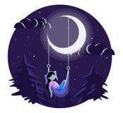 Ragazza addormentata sotto la luna Fotografia Stock Libera da Diritti