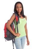 Ragazza adolescente del banco dell'afroamericano con lo Zaino Fotografie Stock Libere da Diritti