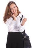 Ragazza adolescente del banco nella conversazione di telefono delle cellule Fotografie Stock Libere da Diritti