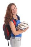 Ragazza adolescente dell'allievo del banco con i libri di formazione Fotografia Stock Libera da Diritti