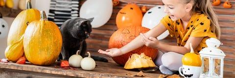 Ragazza adorabile che si siede su una tavola che gioca con la zucca di Halloween ed il suo gatto dell'animale domestico Fondo di  immagini stock libere da diritti