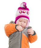 Ragazza adorabile che veste il rivestimento ed il cappello di inverno Immagine Stock