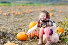 Ragazza adorabile del bambino divertendosi sulla toppa della zucca Fotografie Stock Libere da Diritti