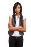 Ragazza africana scettica con le braccia Fotografia Stock