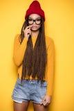 Ragazza afroamericana alla moda Fotografie Stock Libere da Diritti