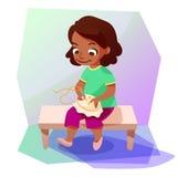 Ragazza afroamericana che fa una cucitura trasversale royalty illustrazione gratis