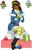 Ragazza afroamericana dell'elfo di Natale con il vischio Fotografie Stock