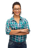 Ragazza afroamericana sorridente in occhiali Immagini Stock Libere da Diritti
