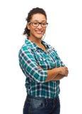 Ragazza afroamericana sorridente in occhiali Fotografia Stock Libera da Diritti