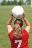 Ragazza al campo di calcio 25 Fotografie Stock