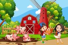 Ragazza al terreno coltivabile royalty illustrazione gratis