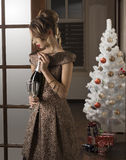 Ragazza alla festa di Natale elegante fotografie stock