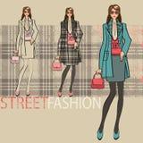 Ragazza alla moda bella Insieme di opzioni Illustrazione di modo Fotografia Stock Libera da Diritti