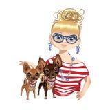 Ragazza alla moda con un piccolo cane Immagini Stock Libere da Diritti