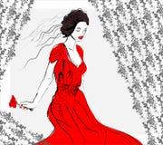 Ragazza alla moda in vestito rosso Fotografia Stock Libera da Diritti