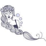 Ragazza alla moda in vetri con capelli lunghi Fotografie Stock Libere da Diritti
