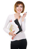 Ragazza allegra con i dispositivi di piegatura e le carte d'ufficio Fotografia Stock