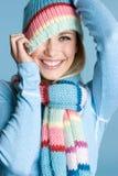 Ragazza allegra di inverno Fotografie Stock