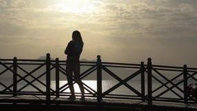 Ragazza allegro che parla sul telefono vicino al mare al tramonto al rallentatore archivi video