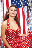 Ragazza americana patriottica sexy Fotografia Stock