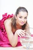 Ragazza & acquario Fotografia Stock