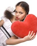 Ragazza & cuore rosso Immagine Stock