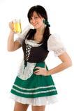 Ragazza & segno della birra Fotografia Stock Libera da Diritti
