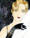 Ragazza antiquata con pelliccia bianca royalty illustrazione gratis