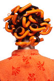 Ragazza in arancio Immagine Stock
