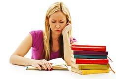 Ragazza arrabbiata dello studente con le difficoltà di apprendimento Immagini Stock Libere da Diritti