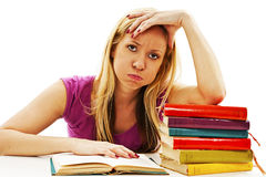 Ragazza arrabbiata dello studente con le difficoltà di apprendimento Fotografia Stock