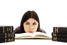 Ragazza arrabbiata dello studente con le difficoltà di apprendimento Fotografia Stock Libera da Diritti