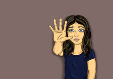 Ragazza arrabbiata ed infelice che mostra a segno della mano abbastanza Contro la violenza illustrazione vettoriale