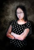 Ragazza asiatica arrabbiata Immagini Stock Libere da Diritti