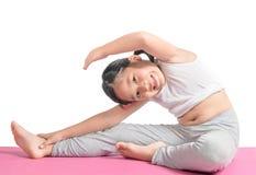 Ragazza asiatica che fa allenamento per perdere peso Fotografie Stock Libere da Diritti